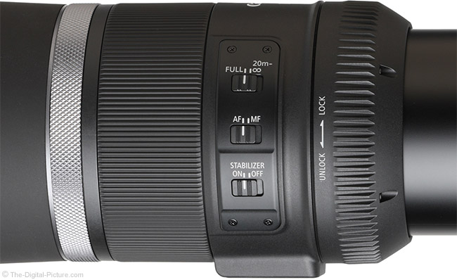 Canon RF 800mm F11 IS STM Lens Switches