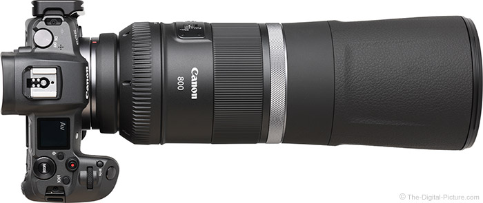 Canon RF 800mm F11 IS STM Lens Retracted Top View