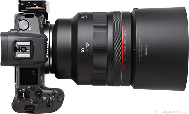 Canon RF 85mm F1.2 L USM Lens Top View with Hood