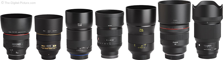 Canon RF 85mm F1.2 L USM Lens Compared to Similar Lenses with Hoods