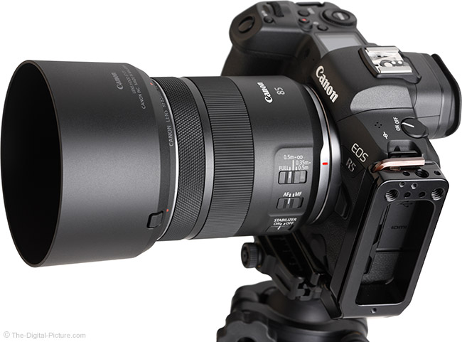 Canon RF 85mm F2 Macro IS STM Lens Angle View with Hood