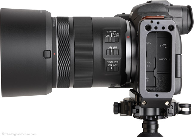 Canon RF 85mm F2 Macro IS STM Lens Side View with Hood