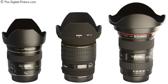 Canon and Sigma 20mm Lenses with hoods in place