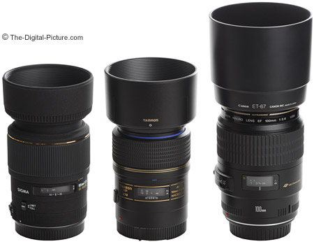 Canon, Sigma and Tamron Macro Lens Size Comparison With Hoods