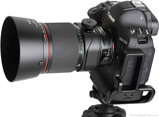 Canon TS-E 135mm f/4L Tilt-Shift Macro Lens Angle View with Hood