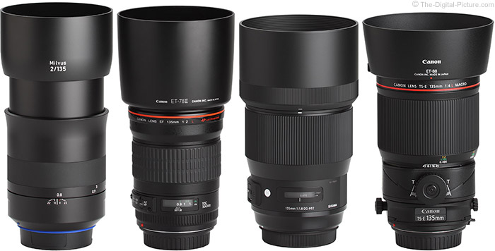 Canon TS-E 135mm f/4L Tilt-Shift Macro Lens Compared to Similar Lenses with Hoods