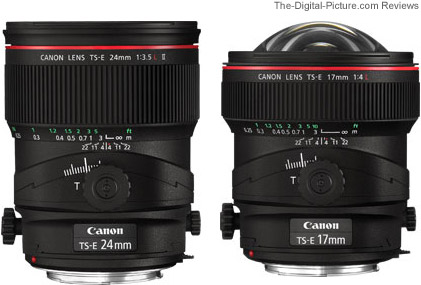 Canon TS-E 24mm f/3.5L II Tilt-Shift Lens compared to the Canon TS-E 17mm f/4L Tilt-Shift Lens