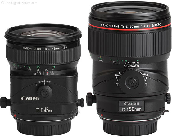 Canon TS-E 50mm f/2.8L Tilt-Shift Macro Lens Compared to TS-E 45mm f/2.8 Lens