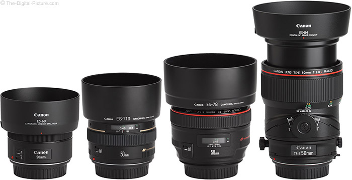 Canon TS-E 50mm f/2.8L Tilt-Shift Macro Lens Compared to Similar Lenses with Hoods