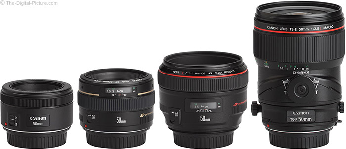 Canon TS-E 50mm f/2.8L Tilt-Shift Macro Lens Compared to Similar Lenses