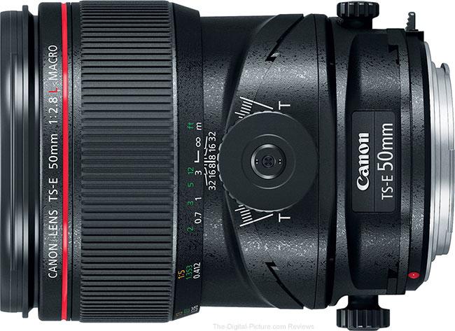 Canon TS-E 50mm f/2.8L Tilt-Shift Macro Lens Side View