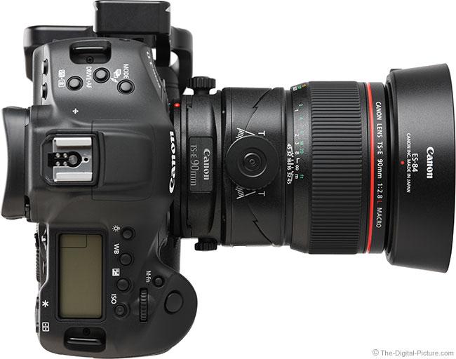 Canon TS-E 90mm f/2.8L Tilt-Shift Macro Lens Top View with Hood