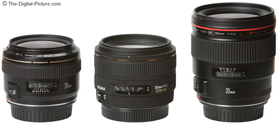 Canon Wide Angle Prime Lens Comparison with Lens Hoods Installed