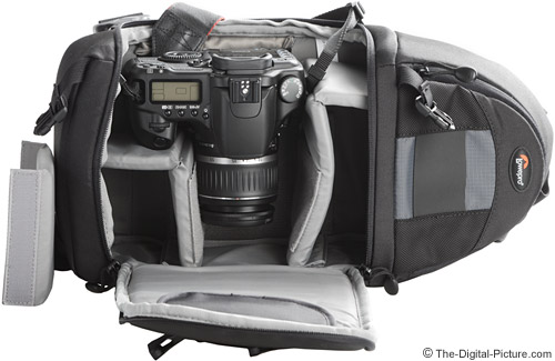 Lowepro Slingshot 100 AW with Largest Camera and Lens
