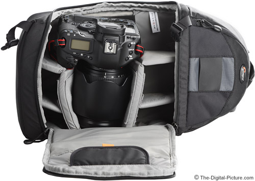 Lowepro Slingshot 200 AW with Largest Camera and Lens