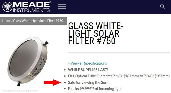 Meade Glass White Light Solar Filter is Safe for Viewing