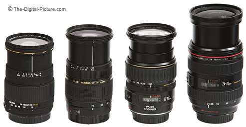 Canon, Sigma and Tamron Normal Zoom Lenses Size Comparison - Extended