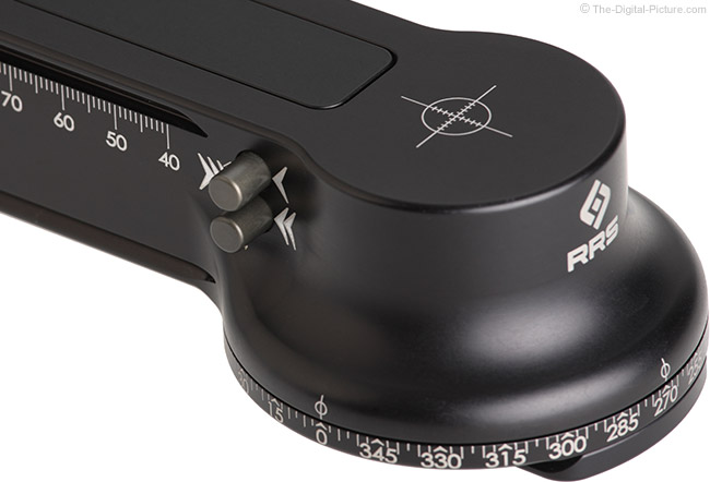 Really Right Stuff FG-02 Fluid-Gimbal Head Horizontal Base Damping Selector Switches Front