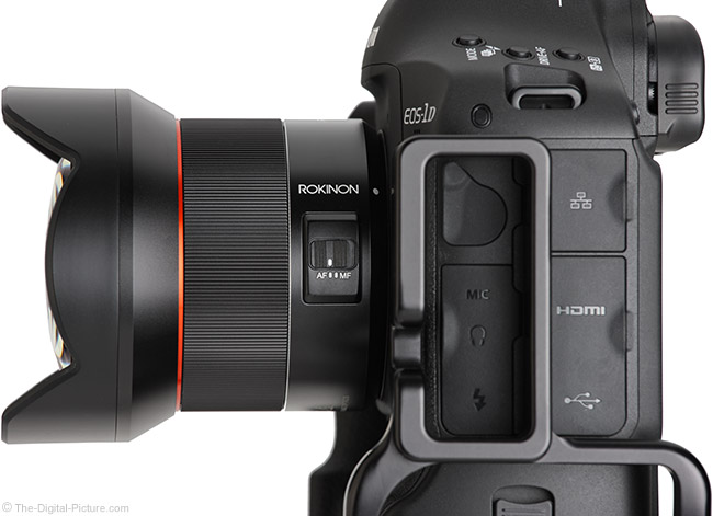 Rokinon AF 14mm f/2.8 Lens Side View