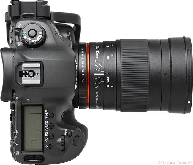 Samyang 135mm f/2 ED UMC Lens Top View