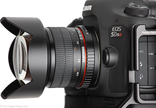Samyang 14mm f/2.8 Lens Side View with Hood