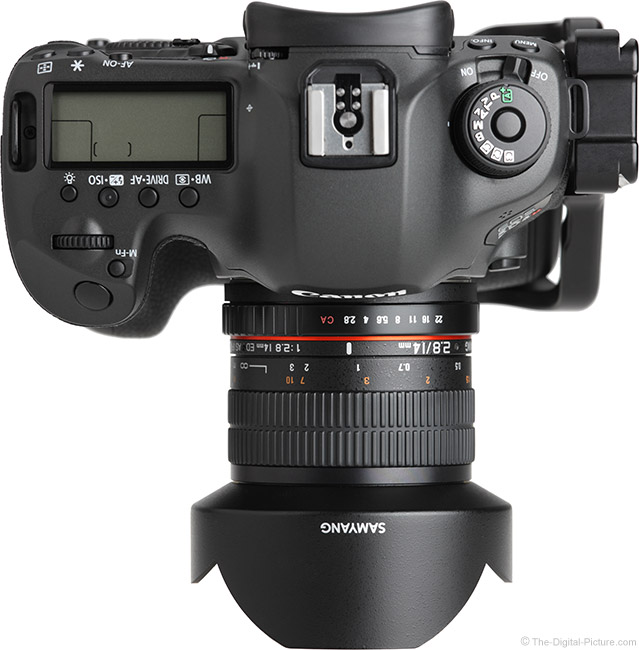 Samyang 14mm f/2.8 Lens Top View with Hood