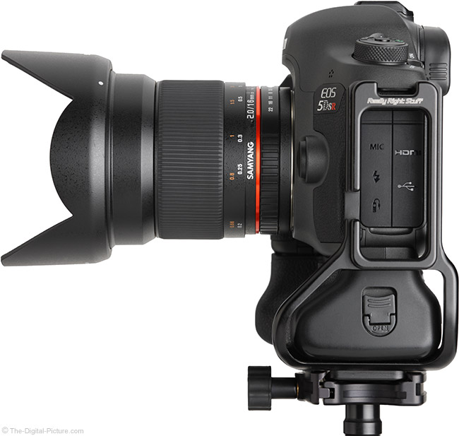 Samyang 16mm f/2 Lens Side View with Hood
