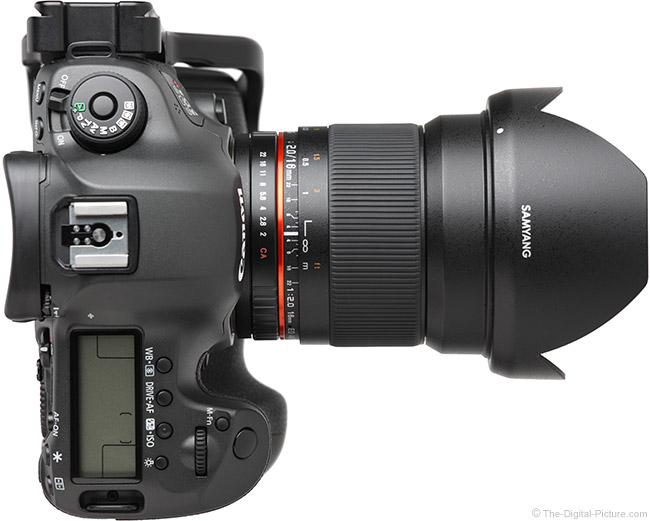 Samyang 16mm f/2 Lens Top View with Hood