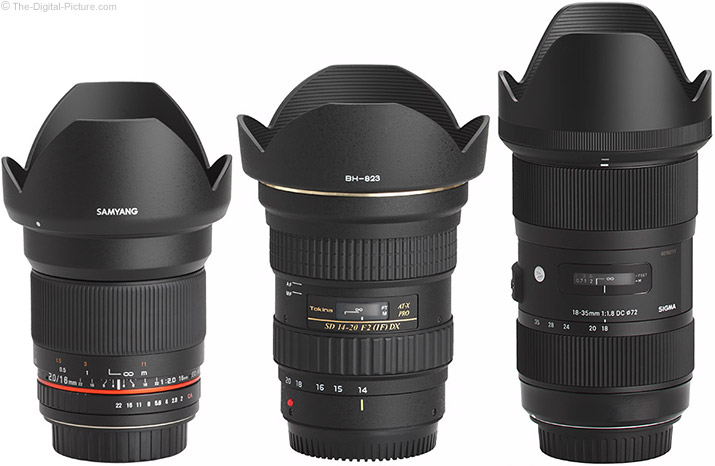 Samyang 16mm f/2 Lens Compared to Similar Lenses with Hoods