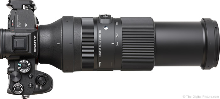 Sigma 100-400mm f/5-6.3 DG DN OS Contemporary Lens Extended Top View