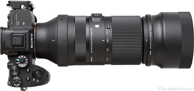 Sigma 100-400mm f/5-6.3 DG DN OS Contemporary Lens Top View with Hood