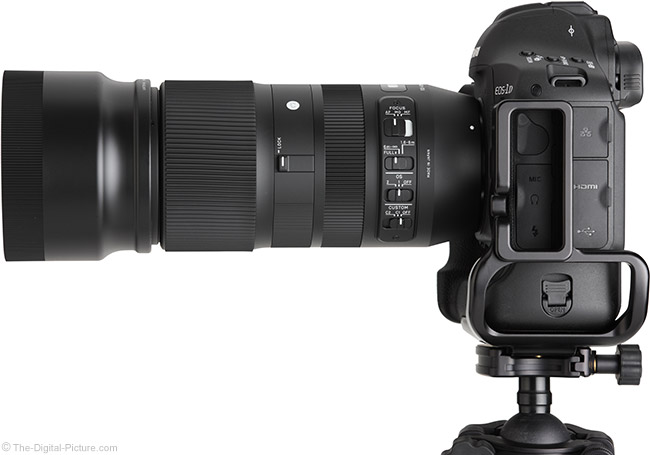 Sigma 100-400mm f/5-6.3 DG OS HSM C Lens Side View with Hood