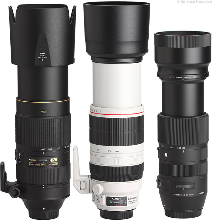 Sigma 100-400mm f/5-6.3 DG OS HSM C Lens Compared to Similar Lenses with Hoods
