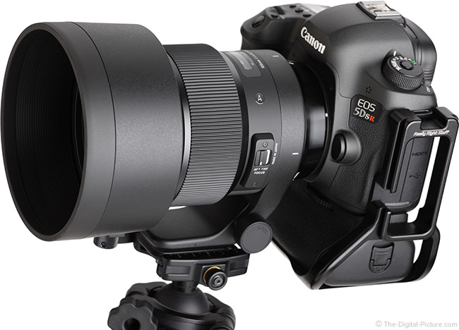 Sigma 105mm f/1.4 DG HSM Art Lens Angle View with Hood