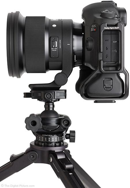 Sigma 105mm f/1.4 DG HSM Art Lens Side View on Tripod