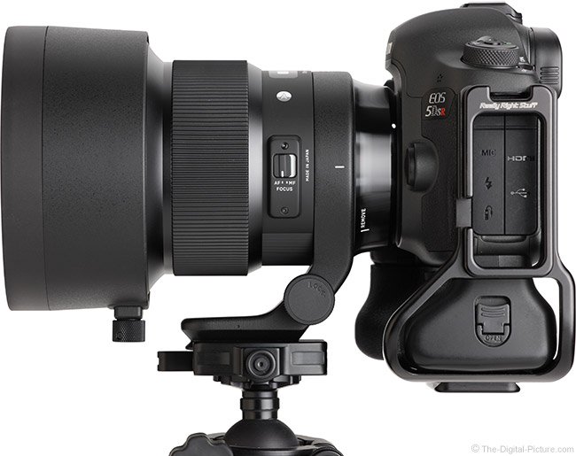 Sigma 105mm f/1.4 DG HSM Art Lens Side View with Hood