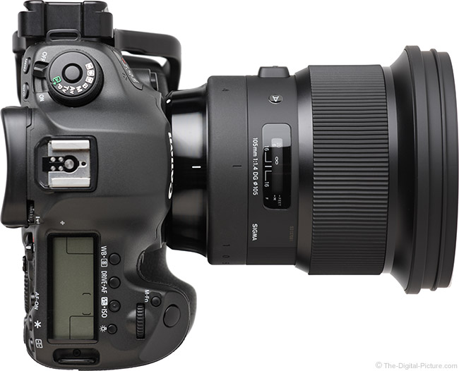 Sigma 105mm f/1.4 DG HSM Art Lens Top View without Tripod Ring