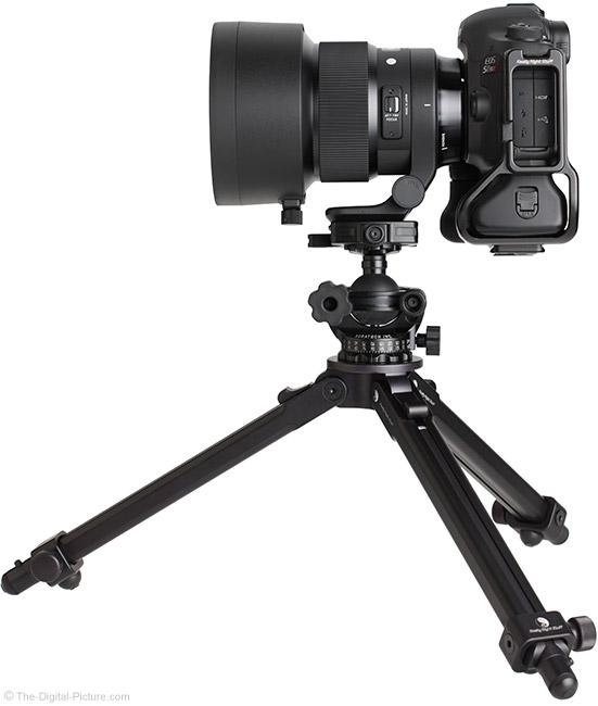 Sigma 105mm f/1.4 DG HSM Art Lens with Hood on Tripod