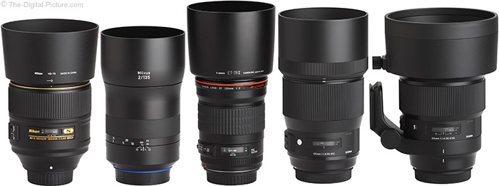 Sigma 105mm f/1.4 DG HSM Art Lens Compared to Similar Lenses with Hoods