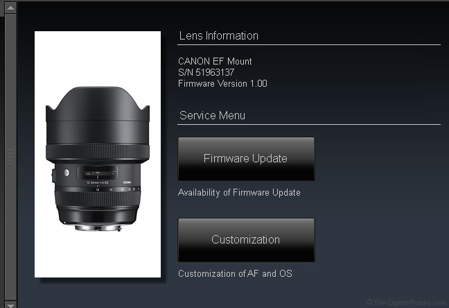 Sigma 24mm Art Lens Dock Compatibility