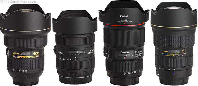 Sigma 12-24mm f/4.5-5.6 DG II HSM Lens Compared to Similar Lenses with Hoods