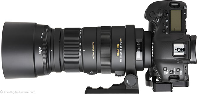 Sigma 120-400mm f/4.5-5.6 DG OS HSM Lens Top View with Hood
