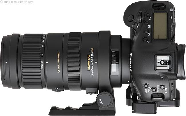 Sigma 120-400mm f/4.5-5.6 DG OS HSM Lens Top View