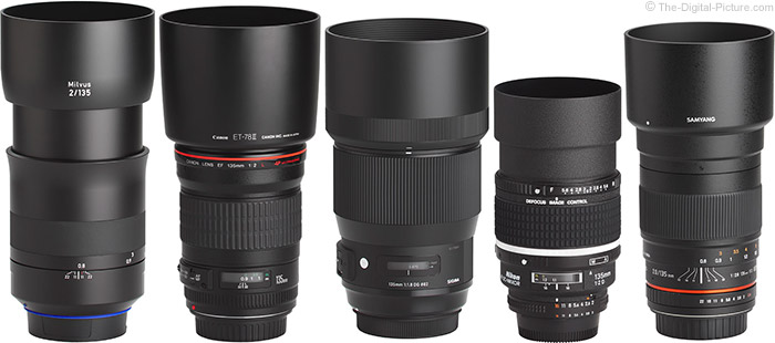 Sigma 135mm f/1.8 DG HSM Art Lens Compared to Similar Lenses with Hoods