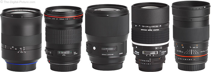 Sigma 135mm f/1.8 DG HSM Art Lens Compared to Similar Lenses