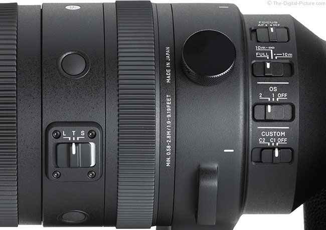 Sigma 150-600mm f/5-6.3 DG DN OS Sports Lens Switches Close View