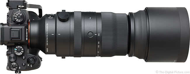 Sigma 150-600mm f/5-6.3 DG DN OS Sports Lens Top View with Hood