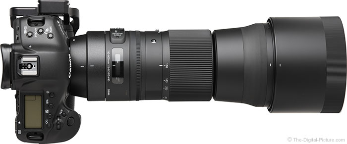 Sigma 150-600mm OS Contemporary Lens Top View with Hood