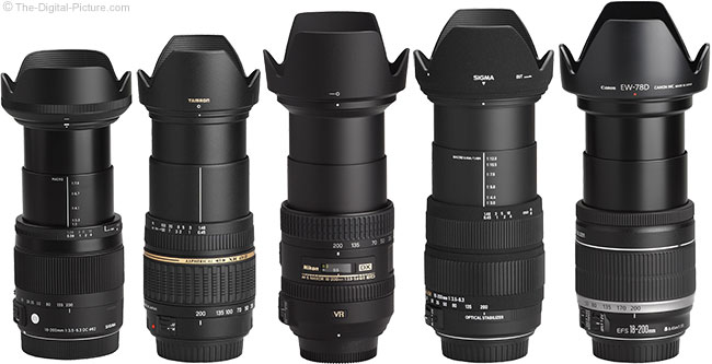 Sigma 18-200mm f/3.5-6.3 DC OS HSM C Lens Compared to other 18-200mm Superzoom Lenses with Hoods