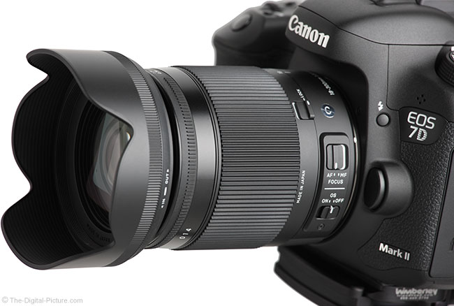Sigma 18-300mm f/3.5-6.3 DC OS HSM Contemporary Lens – Angle View with Hood